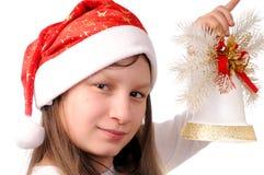 Meisje met Kerstmisklok Stock Afbeeldingen