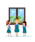 Meisje met klasgenoten, die hebbend pret, vertellend interesserende grappige verhalen spreken stock illustratie