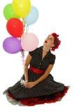 Meisje met kleurenballons Stock Fotografie