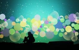 Meisje met kleurrijke lichten Royalty-vrije Stock Afbeelding