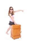 Meisje met koffer stock foto
