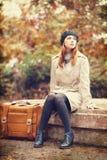 Meisje met koffer Royalty-vrije Stock Fotografie