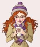 Meisje met koffie Stock Foto
