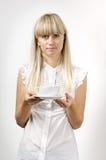 Meisje met koffiekop Stock Fotografie