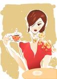 Meisje met Koffiekop of Thee. Illustratie van een Vrouw Royalty-vrije Stock Fotografie