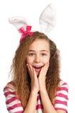 Meisje met konijntjesoren Stock Foto