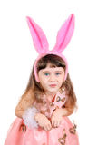 Meisje met konijntjesoren Stock Fotografie