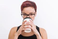 Meisje met kop van koffie Royalty-vrije Stock Foto
