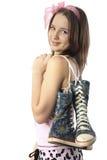 Meisje met laarzen Stock Afbeeldingen