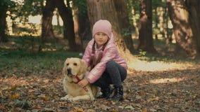 Meisje met Labrador stock footage
