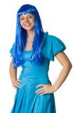 Meisje met lang blauw haar dat op wit wordt geïsoleerde Stock Afbeeldingen