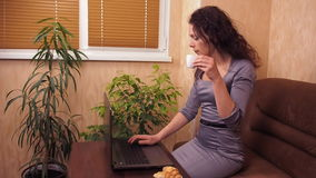 Meisje met laptop en koffie Een vrouw in een grijze kleding binnen achter laptop drinkt koffie Jonge vrouw op bank bij een koffie stock footage