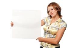 Meisje met leeg blad royalty-vrije stock afbeeldingen