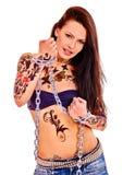 Meisje met lichaamsart Stock Foto's