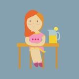 Meisje met limonade Stock Afbeeldingen
