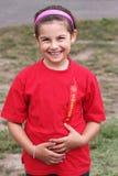 Meisje met lint na het plaatsen van tweede Stock Fotografie