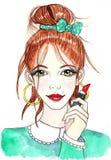 Meisje met lippenstift Stock Afbeeldingen