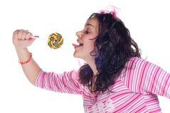 Meisje met lolly stock afbeelding