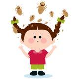 Meisje met luizen vector illustratie