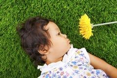 Meisje met madeliefjebloem Stock Afbeelding