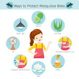 Meisje met Manieren om Geplaatste de Pictogrammen van de Muggenbeet te beschermen stock illustratie
