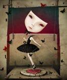 Meisje met masker en hart Stock Afbeelding