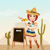 Meisje met Mexicaans menu vector illustratie