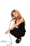 Meisje met microfoon Stock Foto