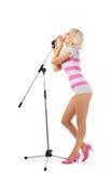 Meisje met microfoon Royalty-vrije Stock Fotografie