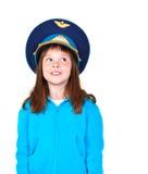 Meisje met militaire hoed Stock Afbeelding