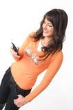 Meisje met mobiele telefoon stock afbeeldingen