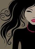 Meisje met mooi haar royalty-vrije illustratie