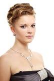 Meisje met mooi kapsel op wit royalty-vrije stock afbeelding