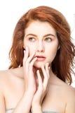 Meisje met mooi lang rood haar stock afbeeldingen