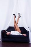 Meisje met mooie benen Stock Foto's