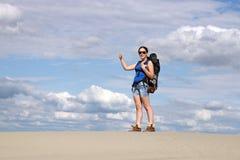 Meisje met omhoog duim Stock Fotografie