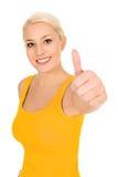 Meisje met omhoog duim Stock Foto's