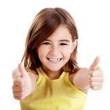 Meisje met omhoog duimen stock afbeelding