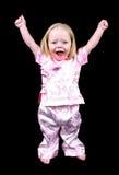 Meisje met omhoog handen Stock Foto's