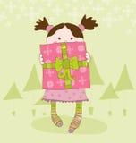 Meisje met Onderhavige Kerstkaart Stock Fotografie