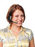 Meisje met oortelefoons en een microfoon royalty-vrije stock foto's