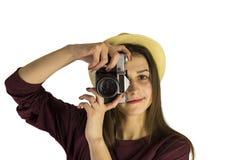 Meisje met oude dslrcamera Stock Foto's