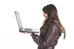 Meisje met overlappings hoogste computer Royalty-vrije Stock Afbeelding