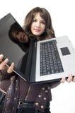 Meisje met overlappings hoogste computer Stock Foto's
