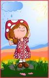 Meisje met paddestoelhoed Stock Foto