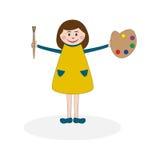 Meisje met palet en borstel Stock Afbeelding