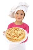 Meisje met pannekoeken Royalty-vrije Stock Foto