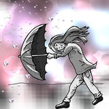 Meisje met paraplu in een onweer Stock Afbeelding