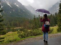 meisje met paraplu in regenachtige dag stock foto's