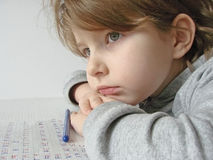 Meisje met pen Stock Foto